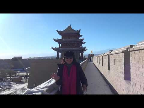 Jiayuguan fort and Hanging Great wall of China. 2015. UNESCO World Heritage Site.