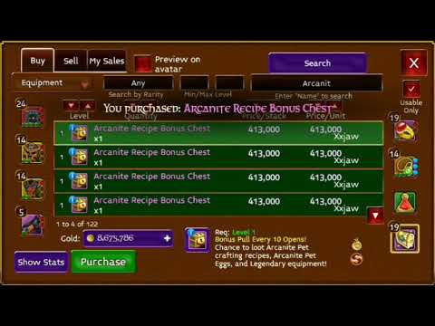 ARCANE LEGENDS LOCK OPENING LOOTED ZHULONG RECIPE AND ARCANITE DREAMBOT 80m +