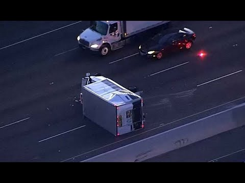 BOX TRUCK CRASH: A box truck flipped over on Highway 880 in Hayward backing up commute traffic
