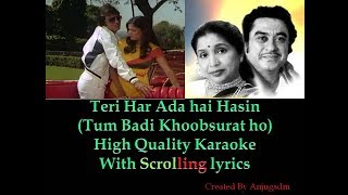 teri har ada hai haseen || Daulat 1982 || karaoke with scrolling lyrics (High QUality)
