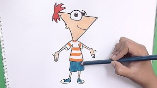 Como dibujar y pintar a Phineas (Phineas y Ferb) - How to draw and paint Phineas