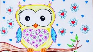 COMO DESENHAR UMA CORUJA -FÁCIL- / HOW TO DRAW EASILY OWL