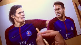 Drawing Cavani and Neymar