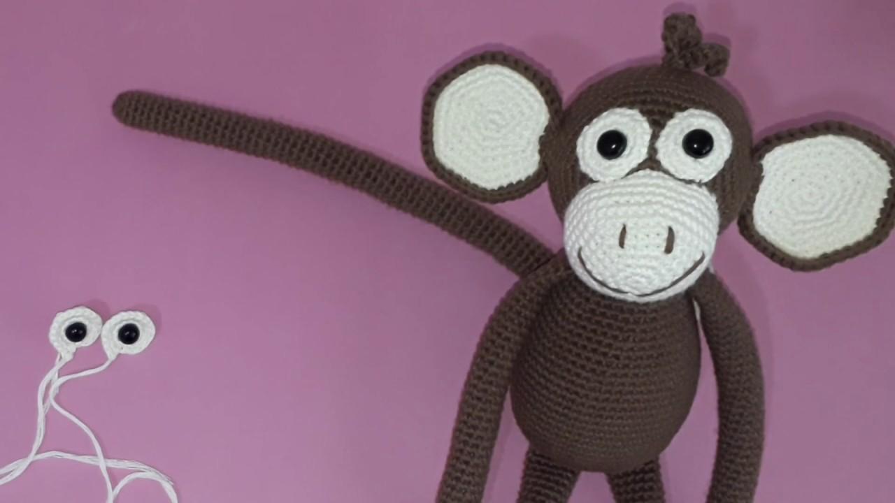 Amigurumi maymun yapımı örgü oyuncak maymun yapılışı amigurumi maymun tarifi göz akının yapımı -04