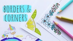 EASY BORDER & CORNER DESIGNS FOR PROJECTS (3) 💜  PROJECT WORK DESIGNS💜 How to DRAW a cute UNICORN