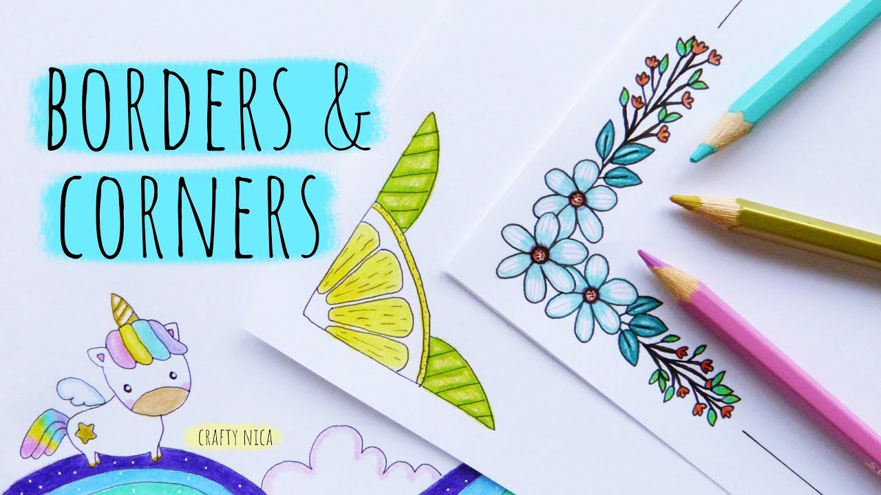 Easy Border Corner Designs For Projects 3 Project Work Designs How To Draw A Cute Unicorn Youtube