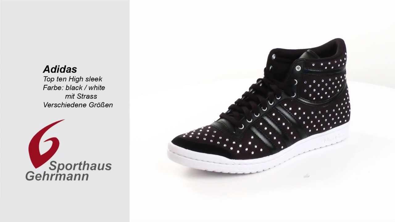 falda Oso polar comunidad  Adidas Top Ten Hi Sleek , black/white schwarz/weiß mit Strass - YouTube