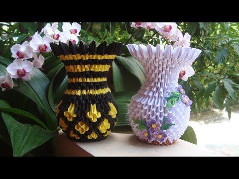 How To Make 3D Origami Flower Vase V9 | DIY Paper Flower Vase Home Decoration