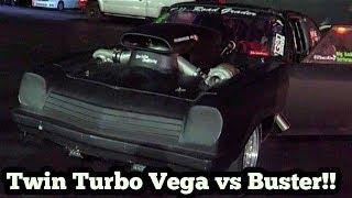 Road Grader Twin Turbo Vega vs Buster Nitrous Camaro in the Streets