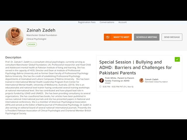 Bullying and ADHD Barriers and Challenges for Pakistan - Dr. Zainab Zadeh At CHADD's 2020 Conference