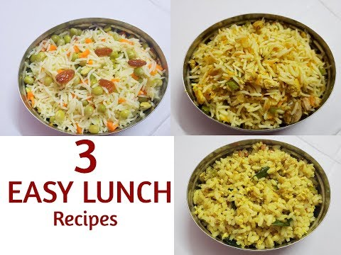 3 Easy Lunch Recipes In 15 Minutes || 3 Rice Recipes || Anu's Kitchen