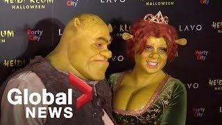 Heidi Klum arrives in Shrek costume for 19th annual Halloween party