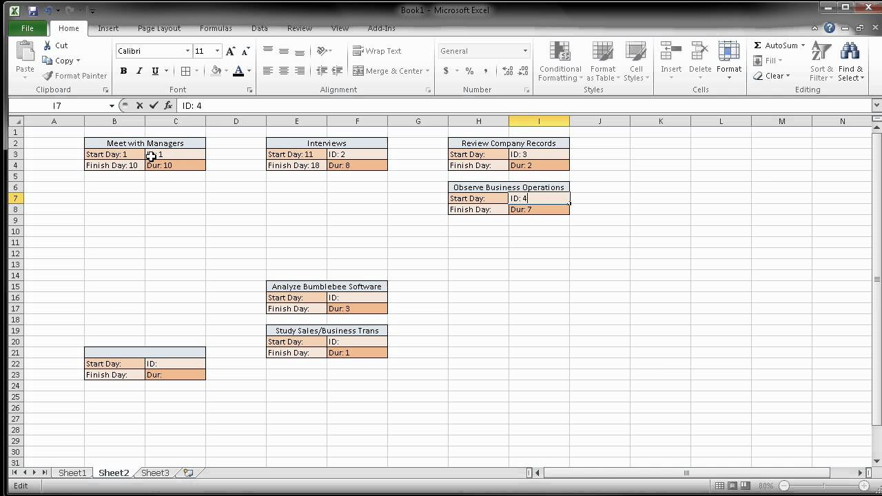 Creating a Pert CPM Chart Using Excel - YouTube