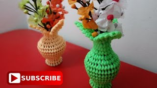 FLOWER POT MADE WITH PLASTIC WIRE (Type 1) | SUBSCRIBE Craft India For more videos