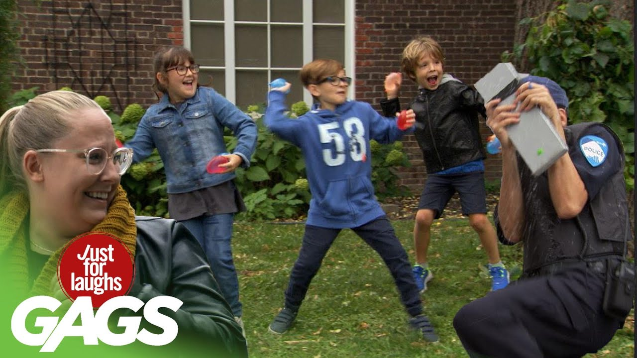 Kids Throw Water Balloons at a Cop!!