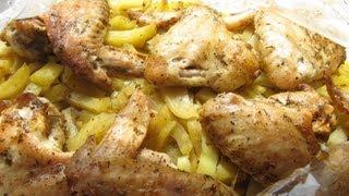 40 Куриные крылышки с картофелем в рукаве