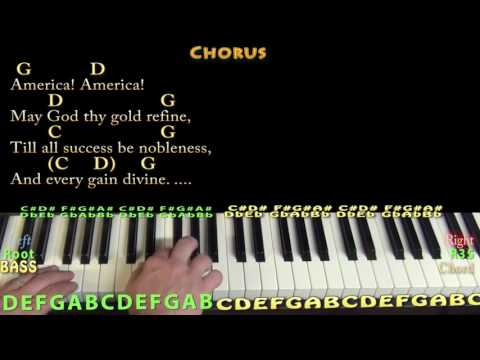America the Beautiful - Piano Cover Lesson in G with Chords/Lyrics