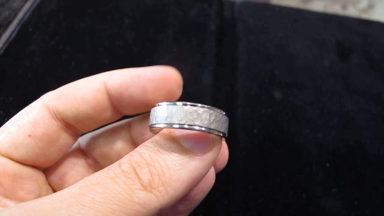 hammered platinum mens wedding band in los angeles - youtube