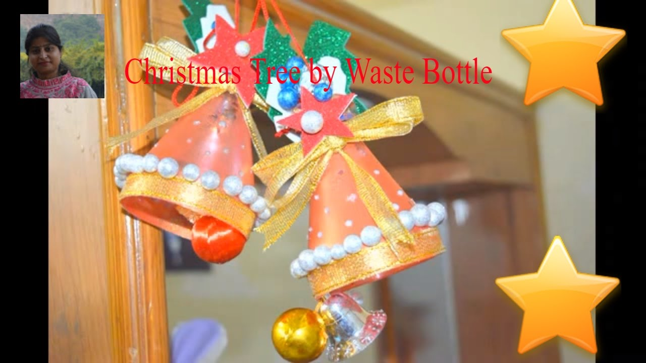 DIY : best out of waste bottle // how to make Christmas bell // recycled bottle craft - YouTube