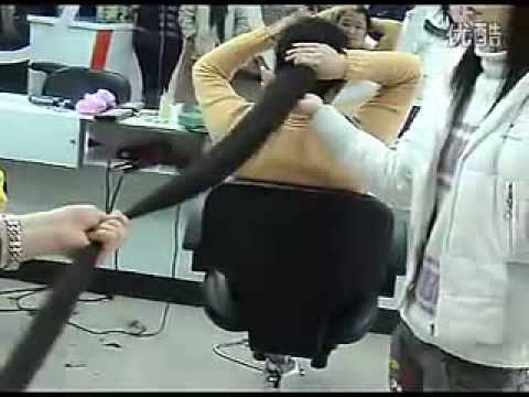 Long hair lady cut her 2 meters long hair   LongHairCut cn]