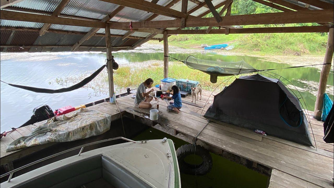 นอนตกปลา 'บนแพร้าง' ในฤดูฝนพลำ แคมป์ครอบครัว!!!