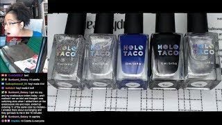 Nail Polish Testing | Holo Taco Water Marble Extended Nail Art Tutorial [Streamed 7/10/19]