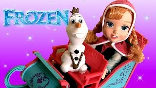 Disney Frozen Princess Anna Adventure Toddler Doll Snow Sleigh and Olaf Snowman Transforming Toy