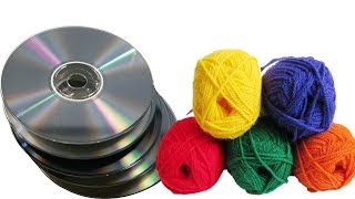 Easy Wall Hanging using waste CDs and Wool | Best out of waste | Waste material craft