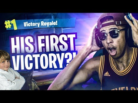 CARRYING My 8 Year Old Teammate to his FIRST VICTORY! *FUNNIEST MOMENT EVER* Fortnite Battle Royale