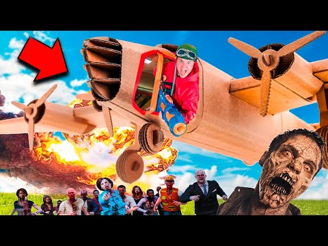 Box Fort Zombies Vs AC130 GUNSHIP Airplane! Nerf War Z Challenge