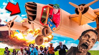 Box Fort Zombies Vs AC130 GUNSHIP Airplane! Nerf War Z Challenge  📦😱
