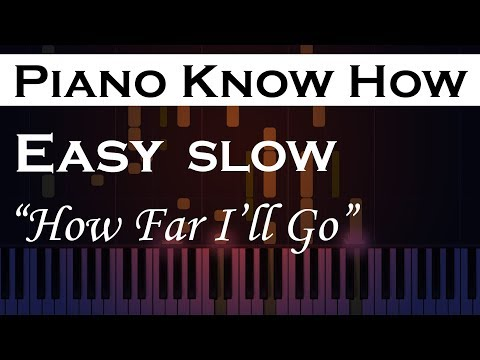 How Far I'll Go - Moana - Easy  SLOW Piano Tutorial
