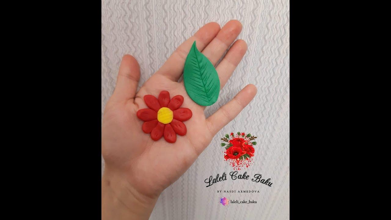 Marcipandan el ile gul ve yarpaq hazirlama ( Seker hamuru ile elde cicek ve yaprak yapimi )