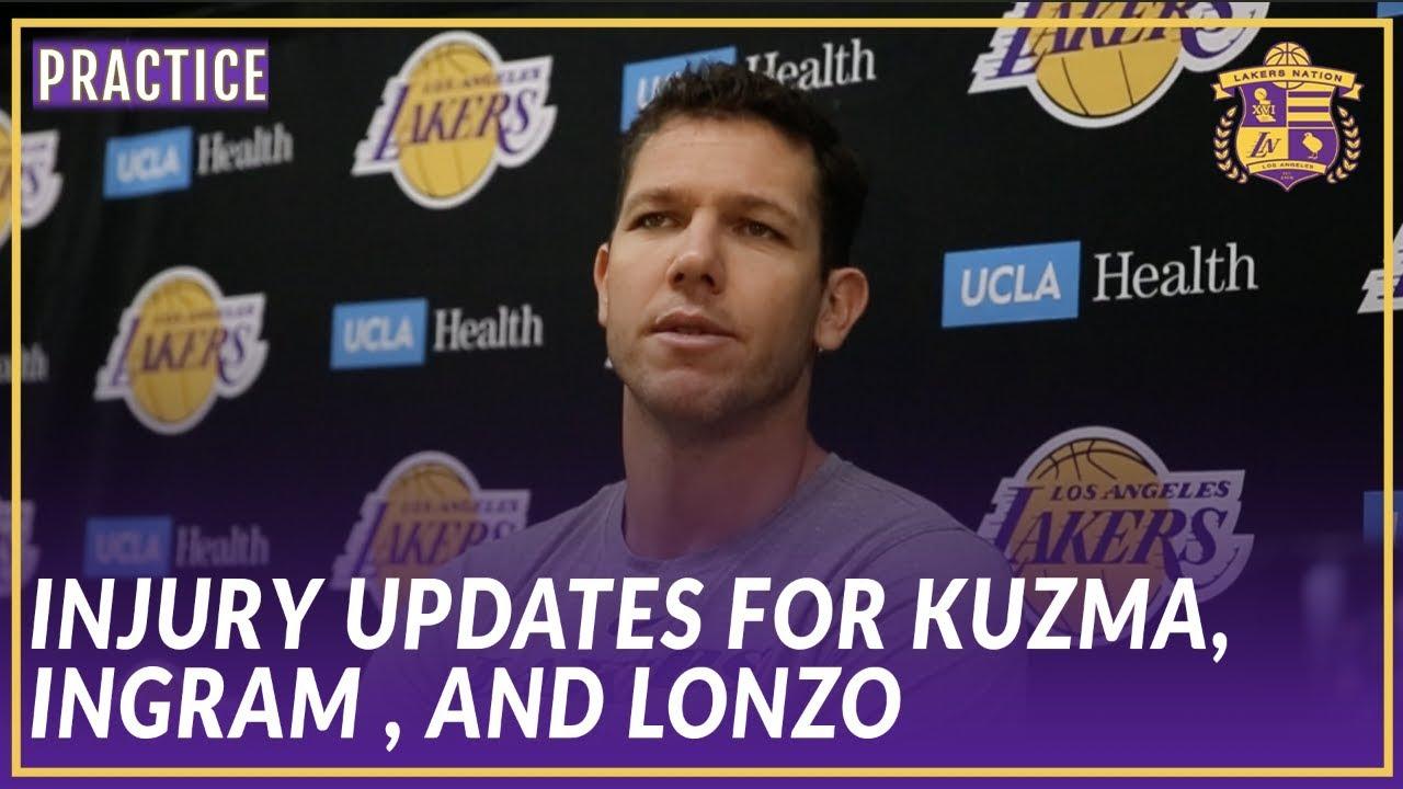 8913e9162ba4 Lakers Practice  Luke Walton Gives an Injury Update on Kyle Kuzma ...