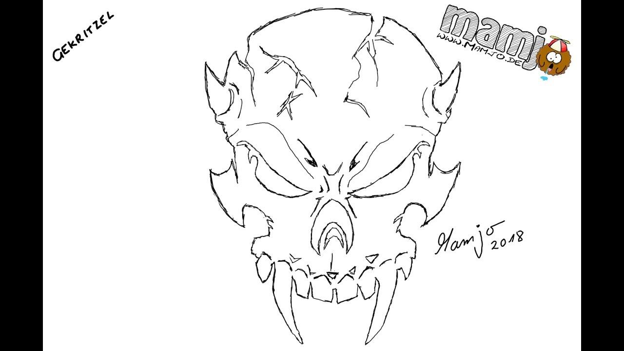 #294 Gekritzel Evil Skull Totenkopf Schädel tutorial ...