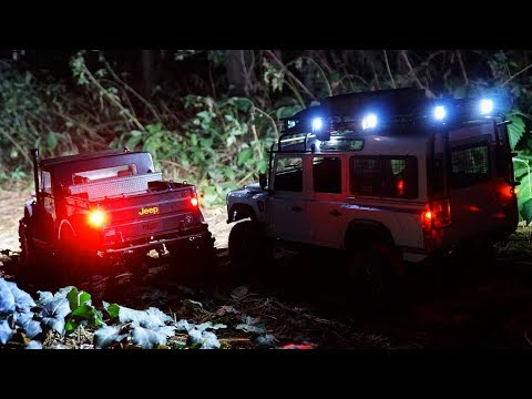 RC Trucks Land Rover Kahn Defender D110 And Jeep NuKizer 715   Night Offroad Trail
