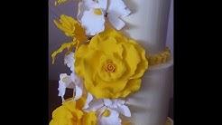 3 Tier Wedding cake Yellow Roses