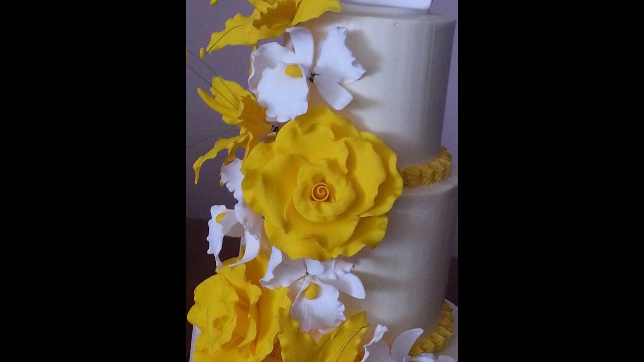 3 tier wedding cake yellow roses youtube 3 tier wedding cake yellow roses mightylinksfo
