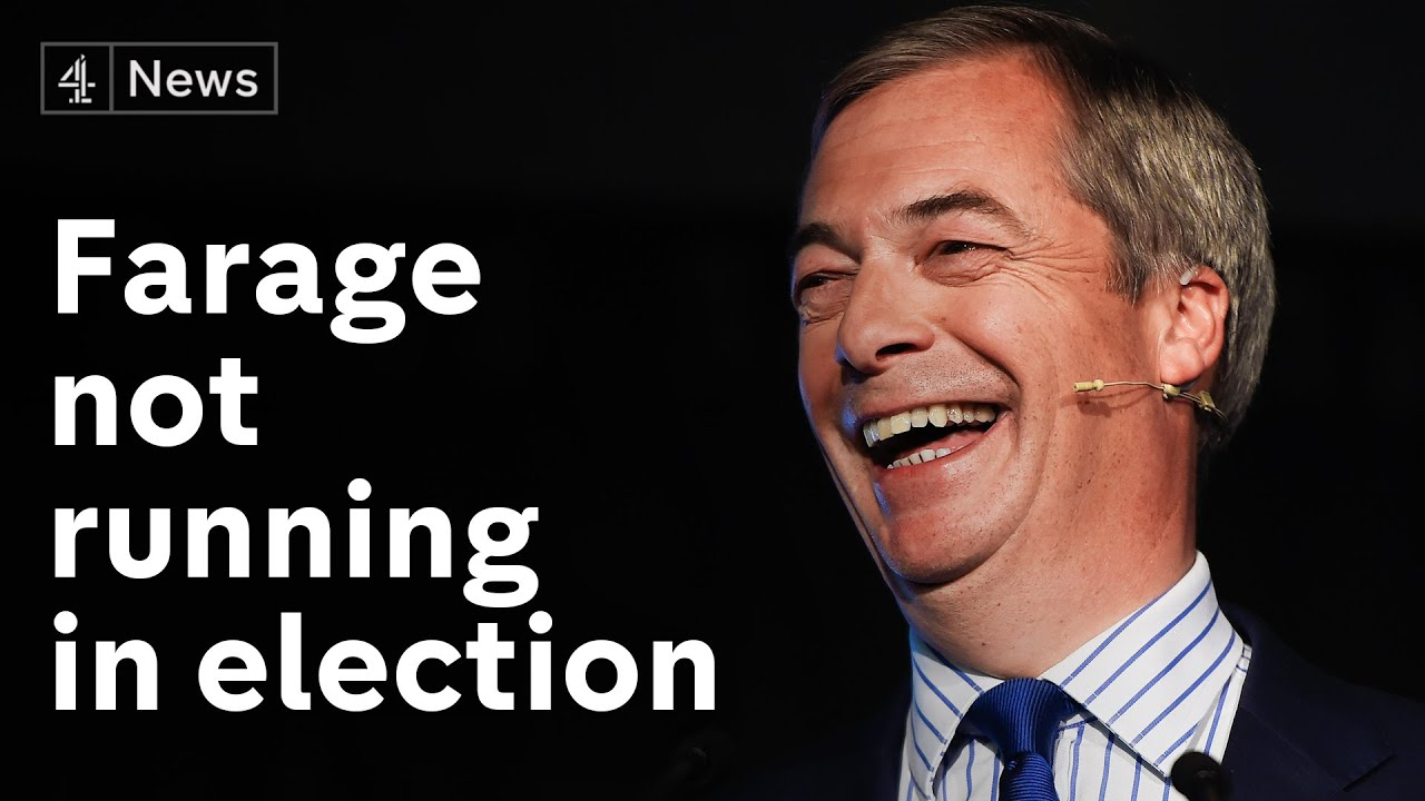 Brexit Party leader Nigel Farage will not stand for election