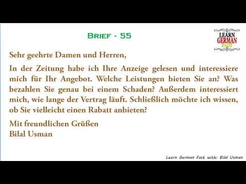 German Brief 55 A1 A2 B1 B2 C1 C2 Youtube