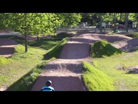 Big Dirt Jump Line at Riverside Bike Park. Cambridge Ontario