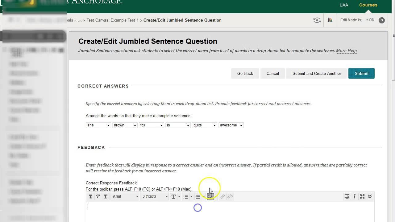 True/False, Multiple Choice, Jumbled Sentence Blackboard Question Types