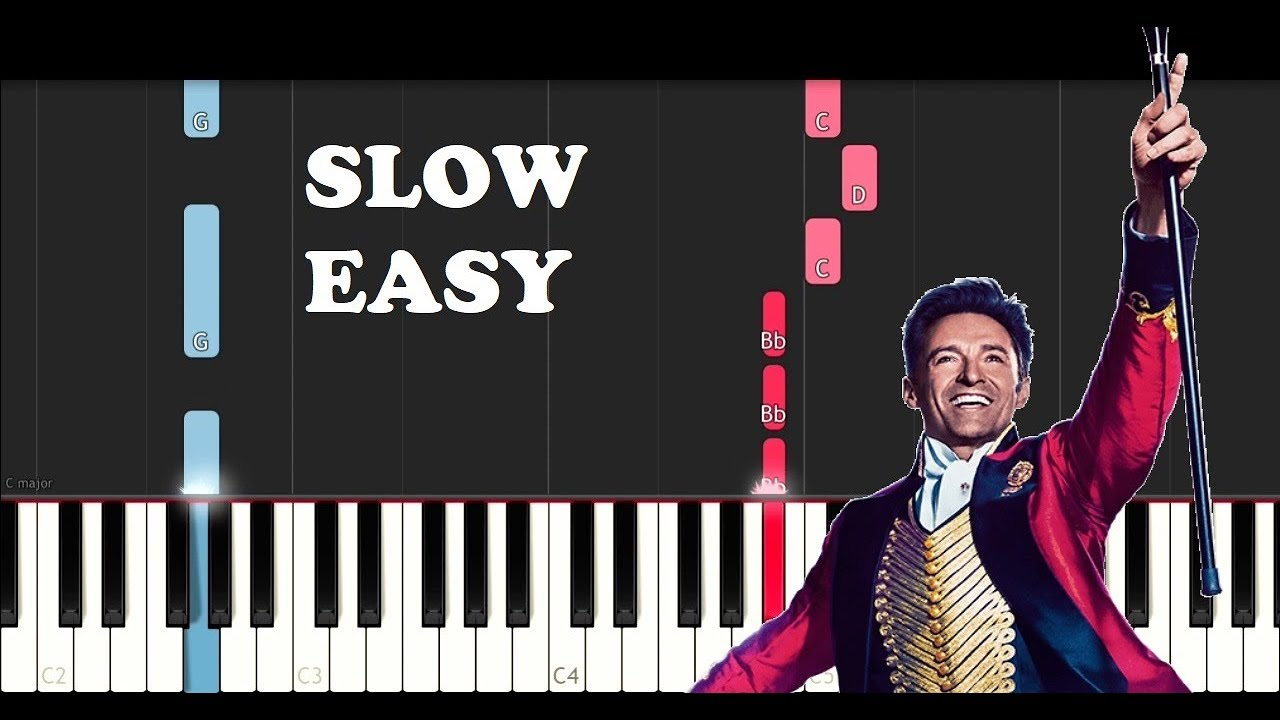 The Greatest Showman Rewrite The Stars Slow Easy Piano Tutorial