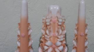 """Резные свечи свадебный набор """"Семейный очаг"""" персикового цвета."""