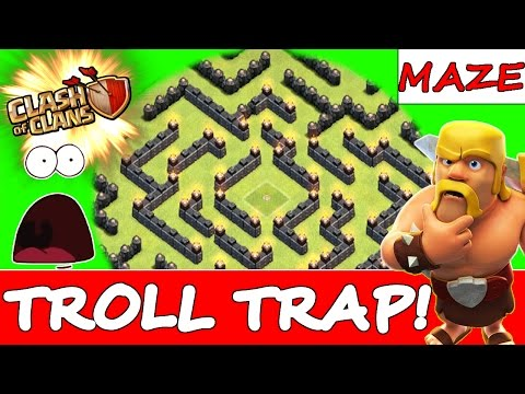 Download clash of clans the maze troll trap base defensive replay
