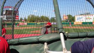 Shane Robinson, David Freese and Matt Holliday take batting practice at Hammons Field