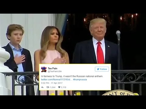 Thumbnail: Twitter Reacts to Melania Trump's National Anthem Nudge