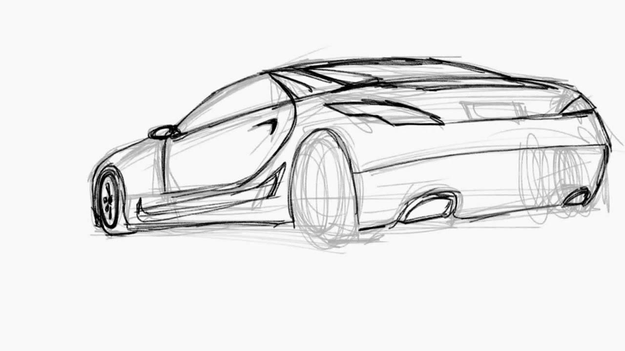 Quick Car Sketch Practice (rear View) - YouTube
