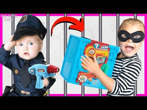 Kin Tin Opens Ryan's World Super Surprise Safe! | Cops And Robbers | Police Chase And Jailbreak!!