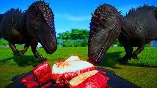 2 Carcha vs 2 Allosaurus, 2 Carnotaurus,2 Indominus Rex, 2 Spinosaurus, 2 T Rex - Dinosaurs Fighting